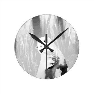 Unique Black and White Polar Bear Design Round Clock