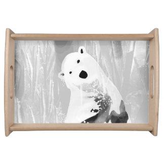 Unique Black and White Polar Bear Design Serving Tray