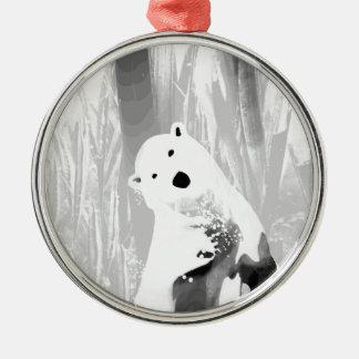 Unique Black and White Polar Bear Design Silver-Colored Round Ornament