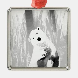 Unique Black and White Polar Bear Design Silver-Colored Square Ornament