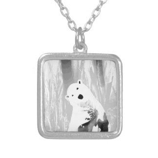 Unique Black and White Polar Bear Design Silver Plated Necklace