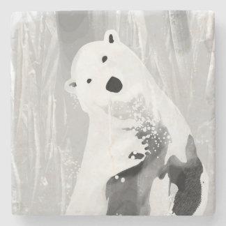 Unique Black and White Polar Bear Design Stone Coaster