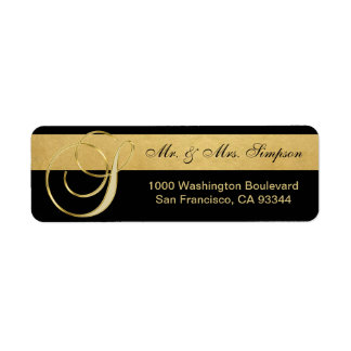 Unique Black Gold Foil Monogram Letter 'S' Return Return Address Label