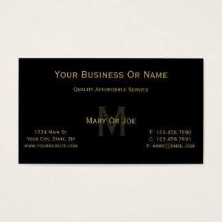Unique Black & Gold Monogram Name. Luxury, Elegant Business Card