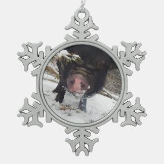 Unique Black Mini Pig Pewter Snowflake Ornament