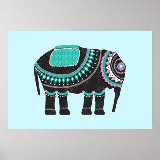 Unique Black Ornate Elephant Design, Modern Poster