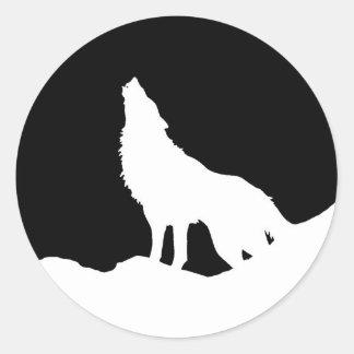 Unique Black & White Pop Art Wolf Silhouette Classic Round Sticker