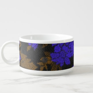 Unique Blue Abstract Roses Chili Bowl