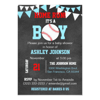Unique Blue Boy Baseball Baby Shower Invitations