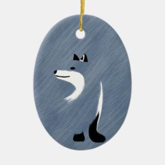 Unique Blue Fox Design Ceramic Oval Ornament