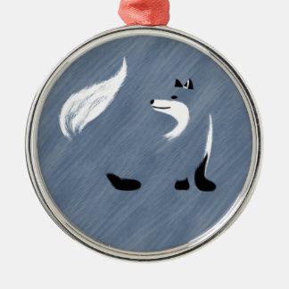 Unique Blue Fox Design Silver-Colored Round Ornament