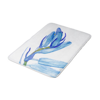 Unique Bluebell Watercolour Painting Bath Mat