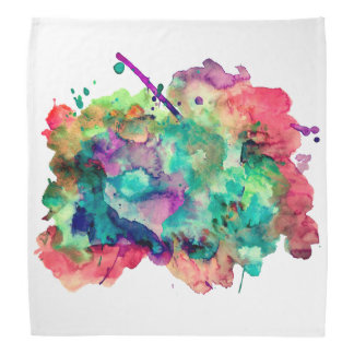 Unique, Bold, Colorful Watercolor Paint Splatters Bandana