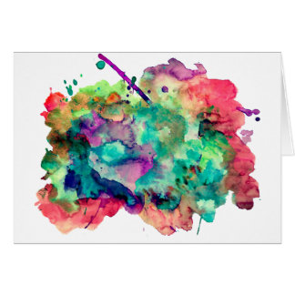 Unique, Bold, Colorful Watercolor Paint Splatters Card