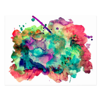 Unique, Bold, Colorful Watercolor Paint Splatters Postcard