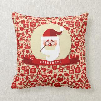 Unique Celebrate Christmas with Santa Throw Pillow