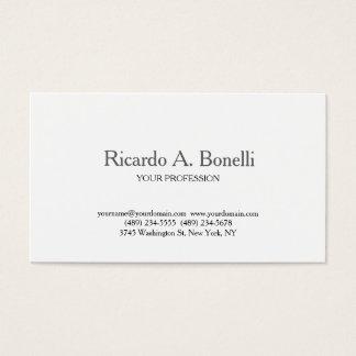 Unique Classical Plain Simple White Professional Business Card