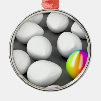 Unique colorful egg metal ornament