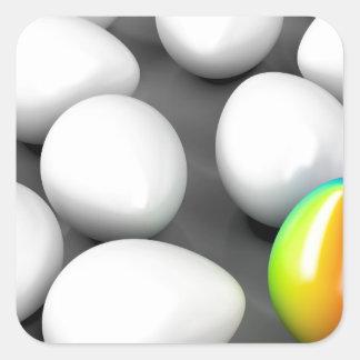 Unique colorful egg square sticker