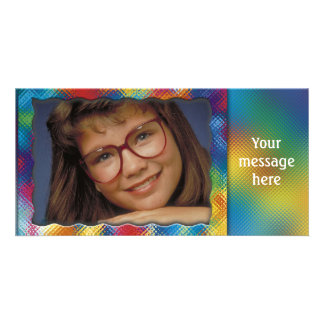 Unique colorful photo frame with your message photo card template