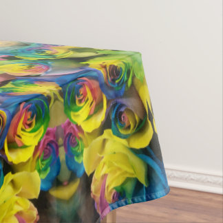 Unique Colorful Rainbow Roses Mirrored Design Tablecloth