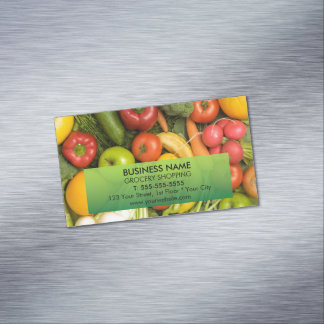 Unique Colorful Vegetables Grocery Magnetic Business Card