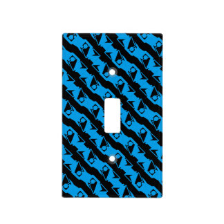 Unique & Cool Black & Azure Blue Stylish Pattern Light Switch Cover