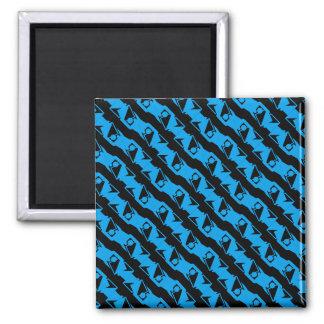 Unique & Cool Black & Azure Blue Stylish Pattern Magnet