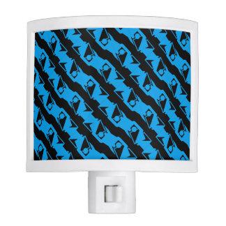 Unique & Cool Black & Azure Blue Stylish Pattern Night Lights