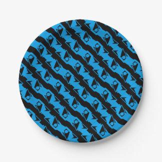 Unique & Cool Black & Azure Blue Stylish Pattern Paper Plate