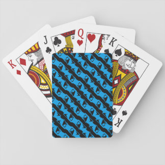 Unique & Cool Black & Azure Blue Stylish Pattern Playing Cards
