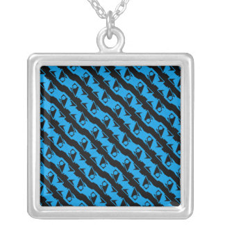 Unique & Cool Black & Azure Blue Stylish Pattern Silver Plated Necklace