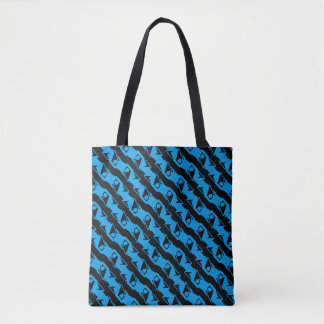 Unique & Cool Black & Azure Blue Stylish Pattern Tote Bag