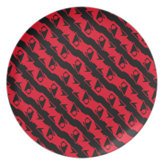 Unique & Cool Black & Bright Red Modern Pattern Plate