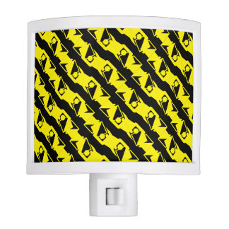 Unique & Cool Black & Bright Yellow Modern Pattern Night Lites