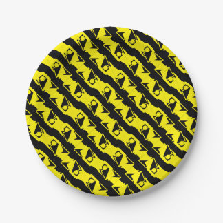 Unique & Cool Black & Bright Yellow Modern Pattern Paper Plate