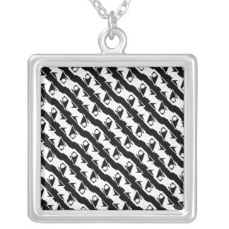 Unique & Cool Black & White Modern Pattern Silver Plated Necklace