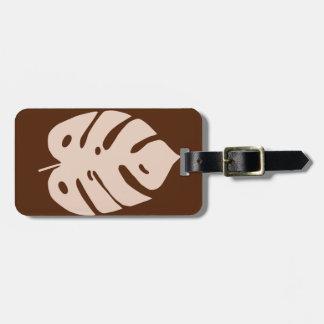 Unique Copper Monstera Tropical Plant Design Luggage Tag