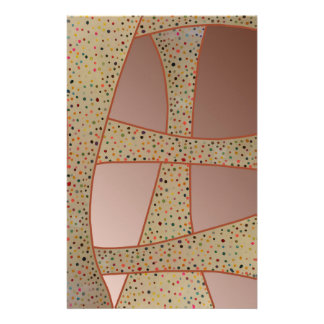 Unique copper polka dots waves design stationery paper