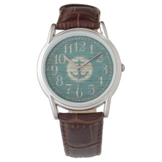 Unique Decorative Nautical Anchor Vintage Wood Wristwatches