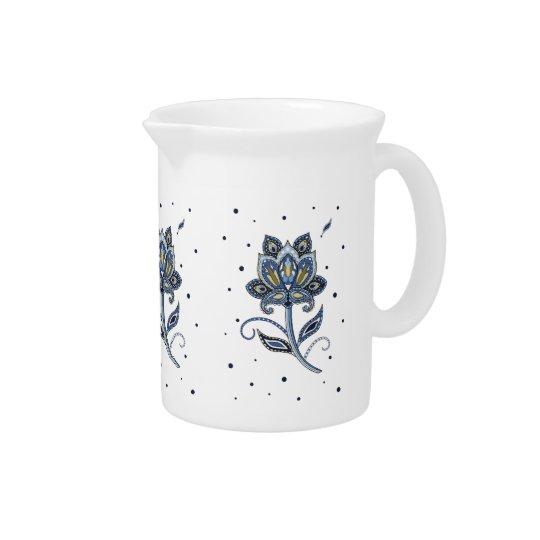 Unique Elegant Custom Floral Paisley Blue Pitcher