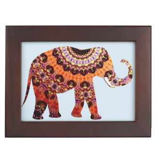 Unique Elephant Wildlife Red and Blue Keepsake Box