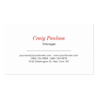 Unique Expressive White Red Business Card