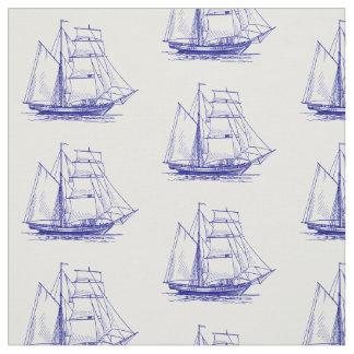 Unique fabric  Blue sail boat ship nautical