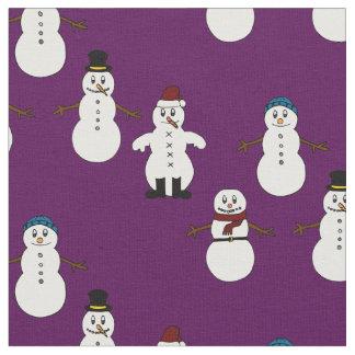 Unique fabric purple cute snowman Christmas