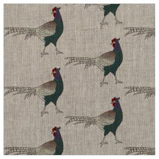 Unique fabric Retro chic pheasant bird  linen
