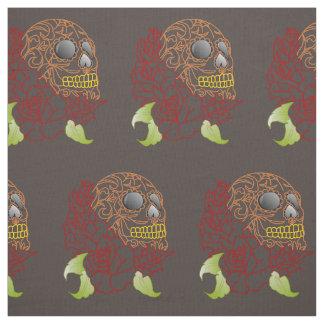 Unique fabric Retro dark brown skull rockabilly