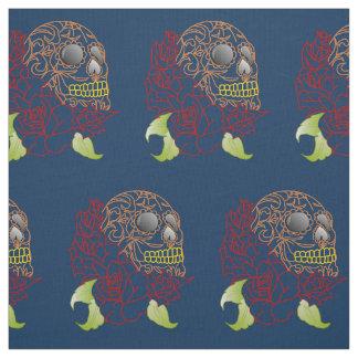Unique fabric Retro ocean blue skull rockabilly