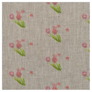 Unique fabric  Retro pink tulip flower