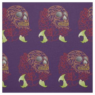 Unique fabric Retro purple skull rockabilly